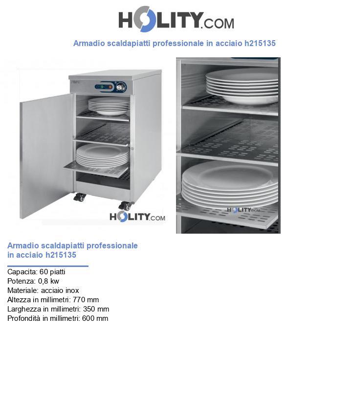 Armadio scaldapiatti professionale in acciaio h215135