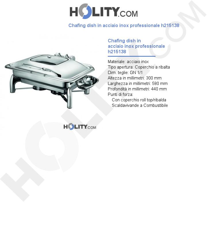 Chafing dish in acciaio inox professionale h215138