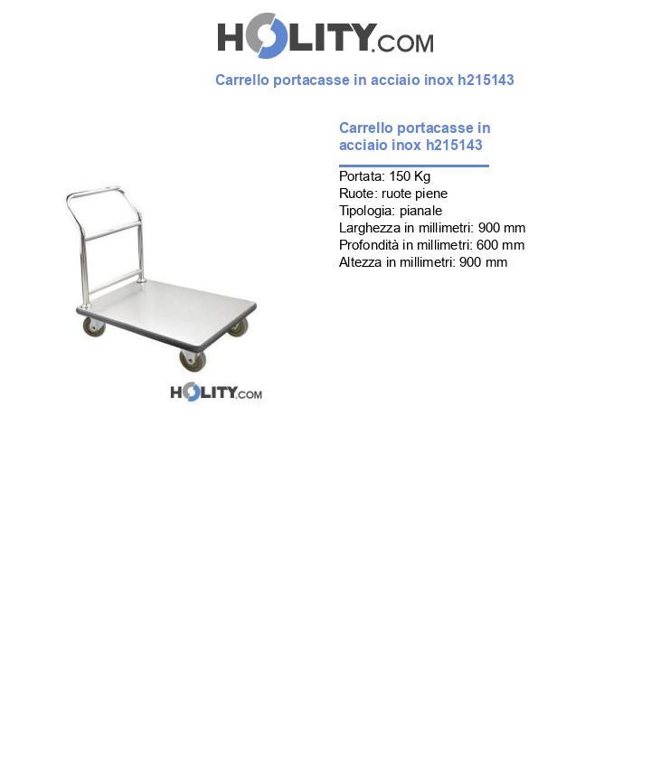 Carrello portacasse in acciaio inox h215143