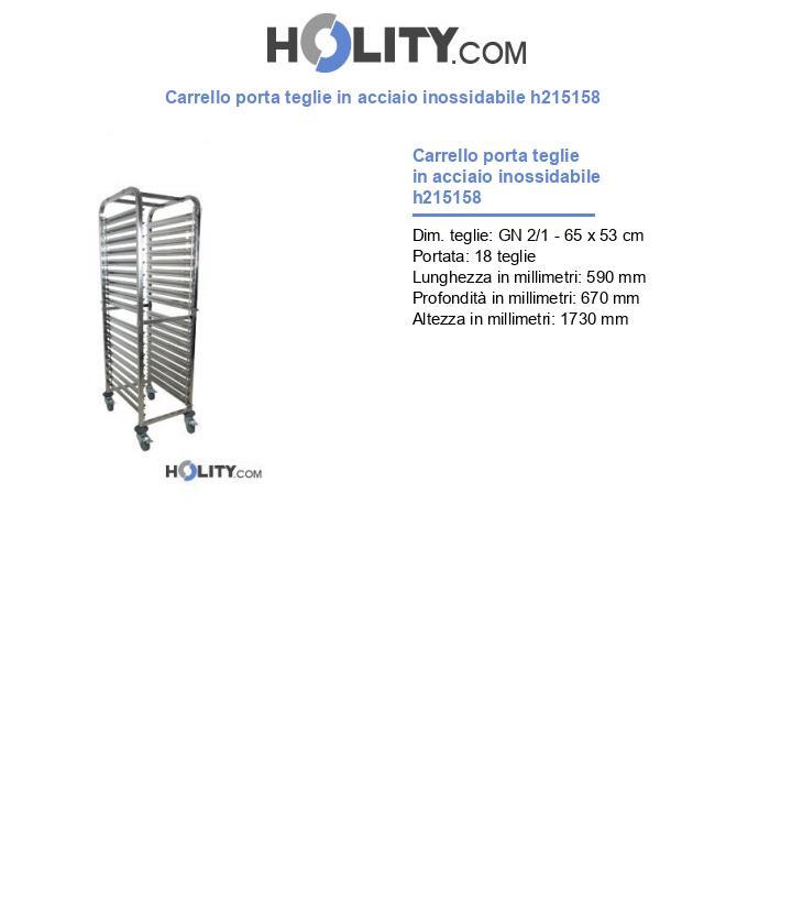 Carrello porta teglie in acciaio inossidabile h215158