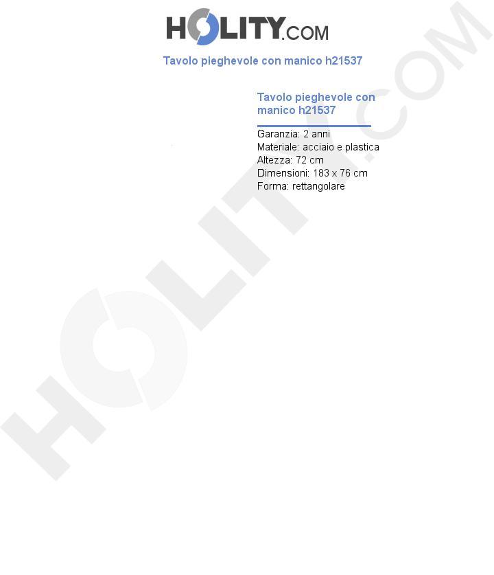 Tavolo pieghevole con manico h21537