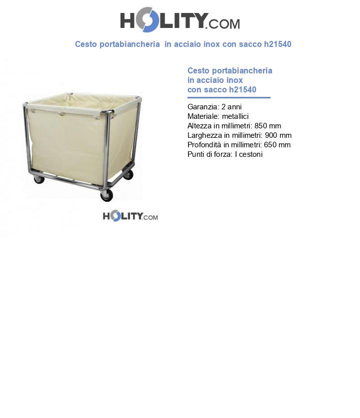 Cesto portabiancheria  in acciaio inox con sacco h21540