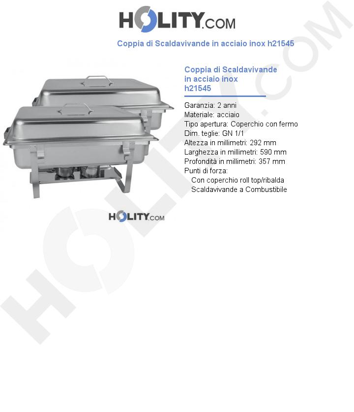 Coppia di Scaldavivande in acciaio inox h21545
