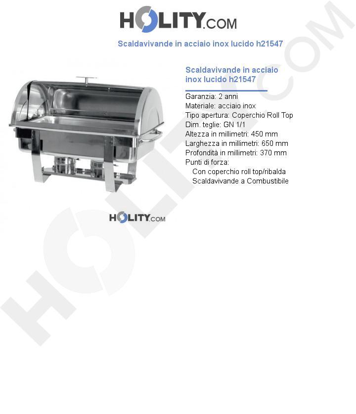 Scaldavivande in acciaio inox lucido h21547