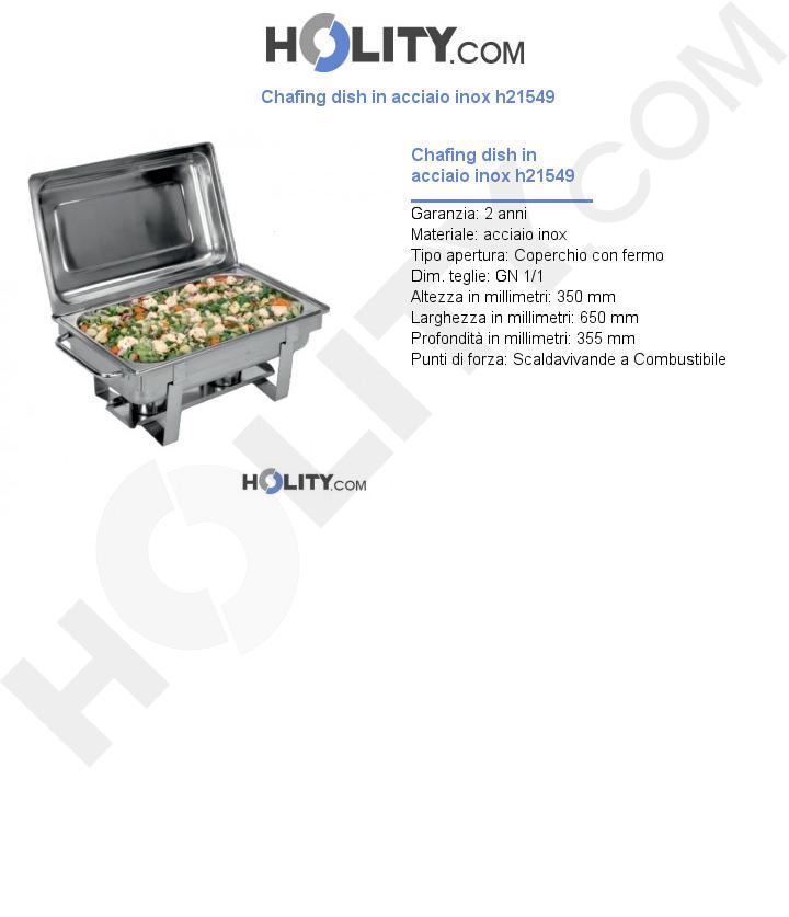 Chafing dish in acciaio inox h21549