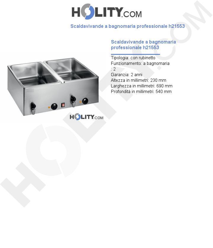 Scaldavivande a bagnomaria professionale h21553