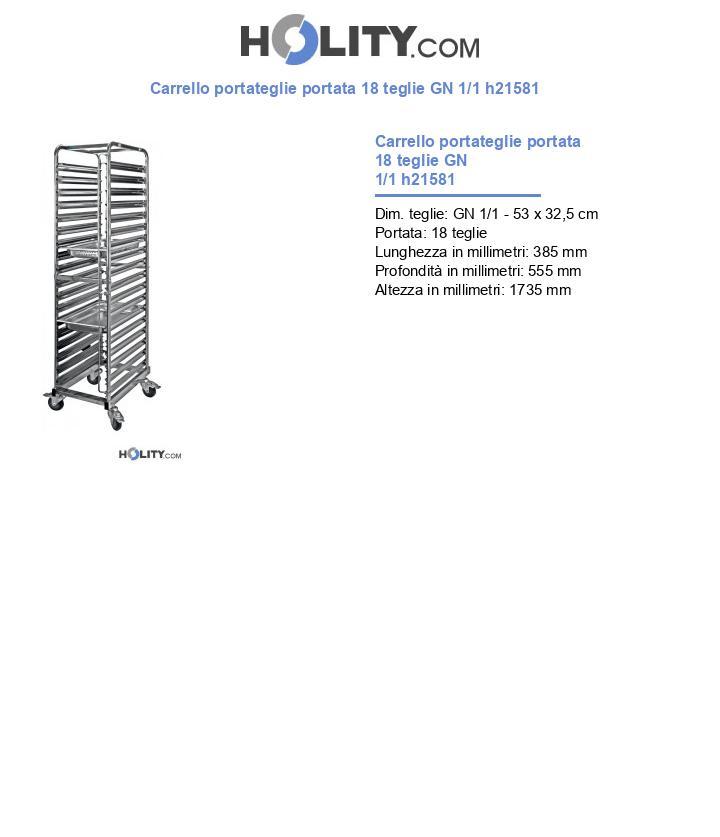 Carrello portateglie portata 18 teglie GN 1/1 h21581