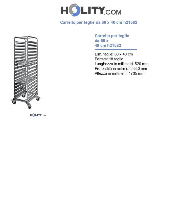 Carrello per teglie da 60 x 40 cm h21582