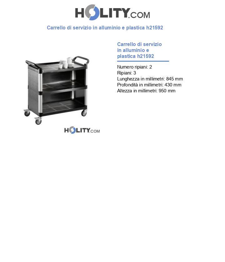 Carrello di servizio in alluminio e plastica h21592