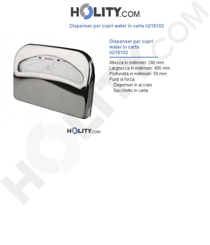 Dispenser per copri water in carta h218102