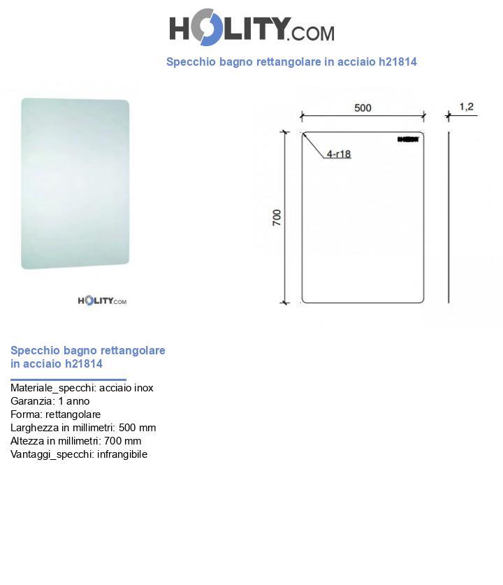 Specchio bagno rettangolare in acciaio h21814