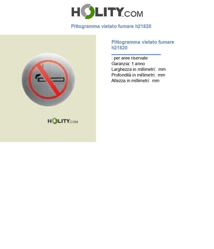 Pittogramma vietato fumare h21820