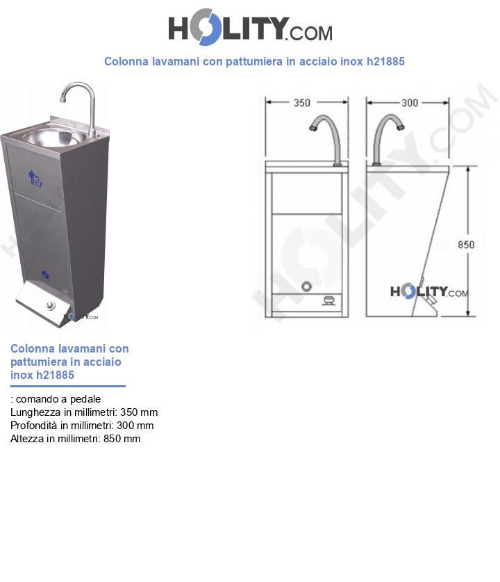 Colonna lavamani con pattumiera in acciaio inox h21885