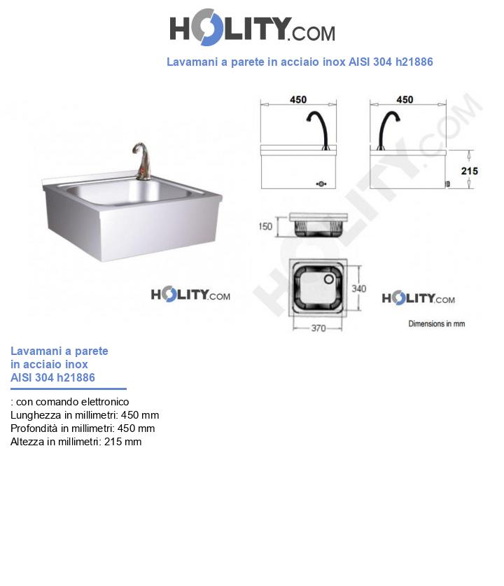 Lavamani a parete in acciaio inox AISI 304 h21886