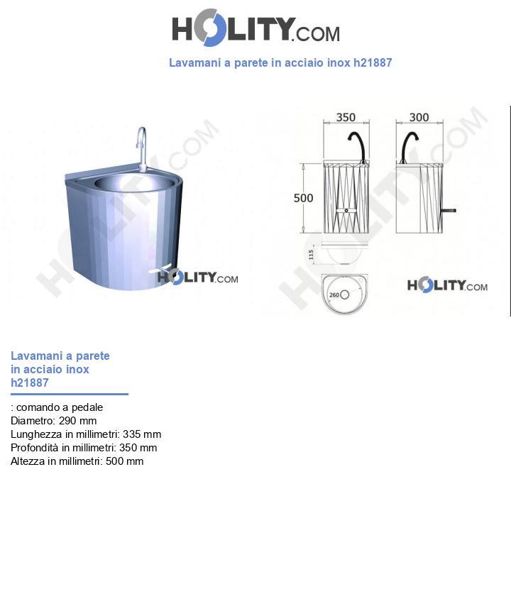 Lavamani a parete in acciaio inox h21887