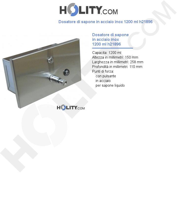 Dosatore di sapone in acciaio inox 1200 ml h21896
