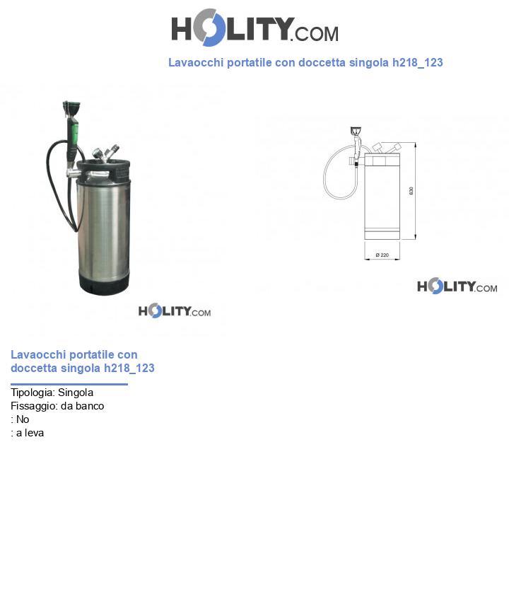 Lavaocchi portatile con doccetta singola h218_123