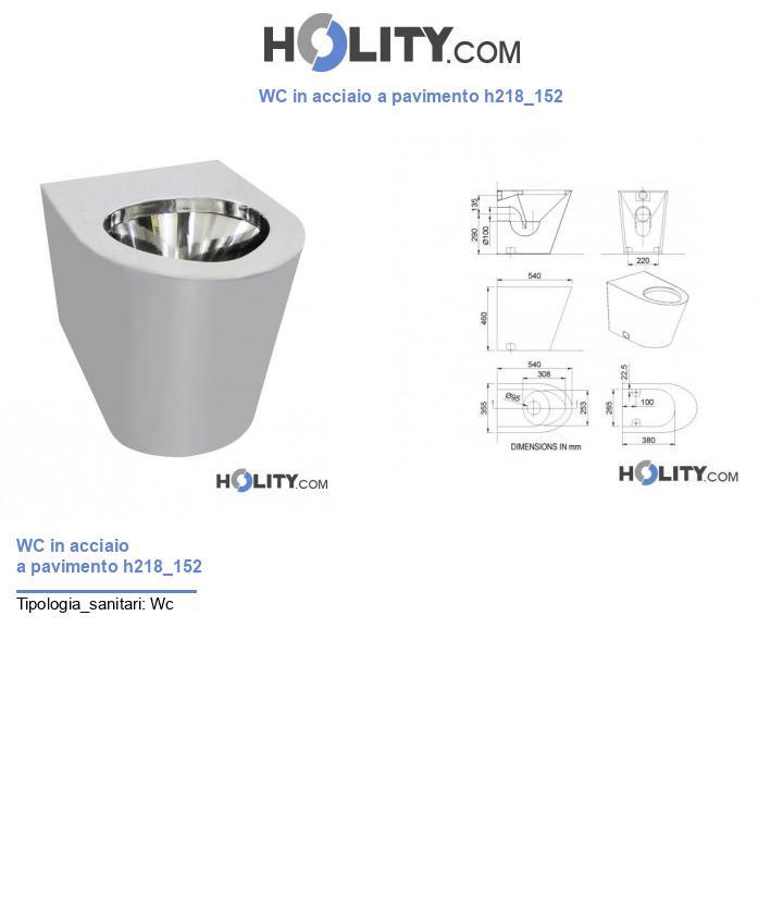 WC in acciaio a pavimento h218_152