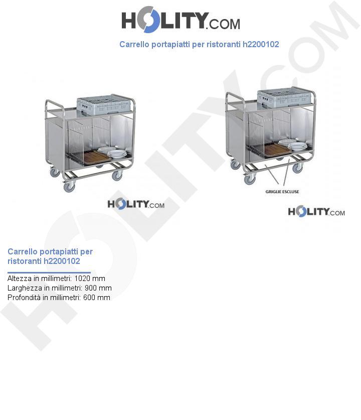 Carrello trasporto piatti per ristoranti h2200102