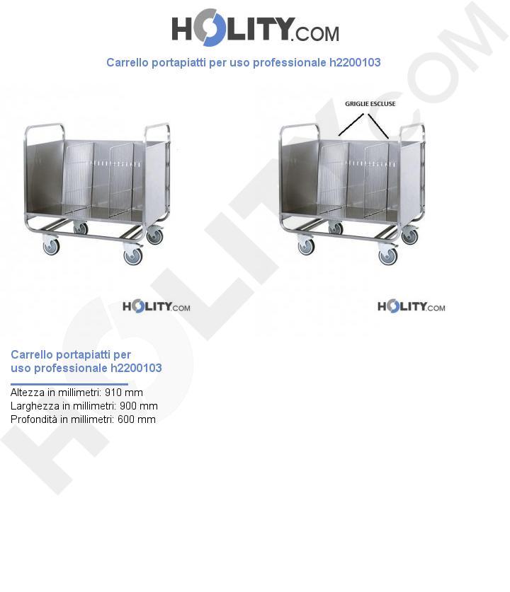 Carrello portapiatti per uso professionale h2200103
