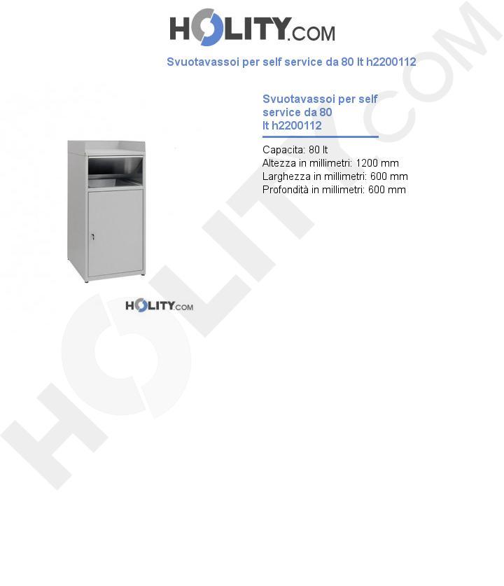 Svuotavassoi per self service da 80 lt h2200112