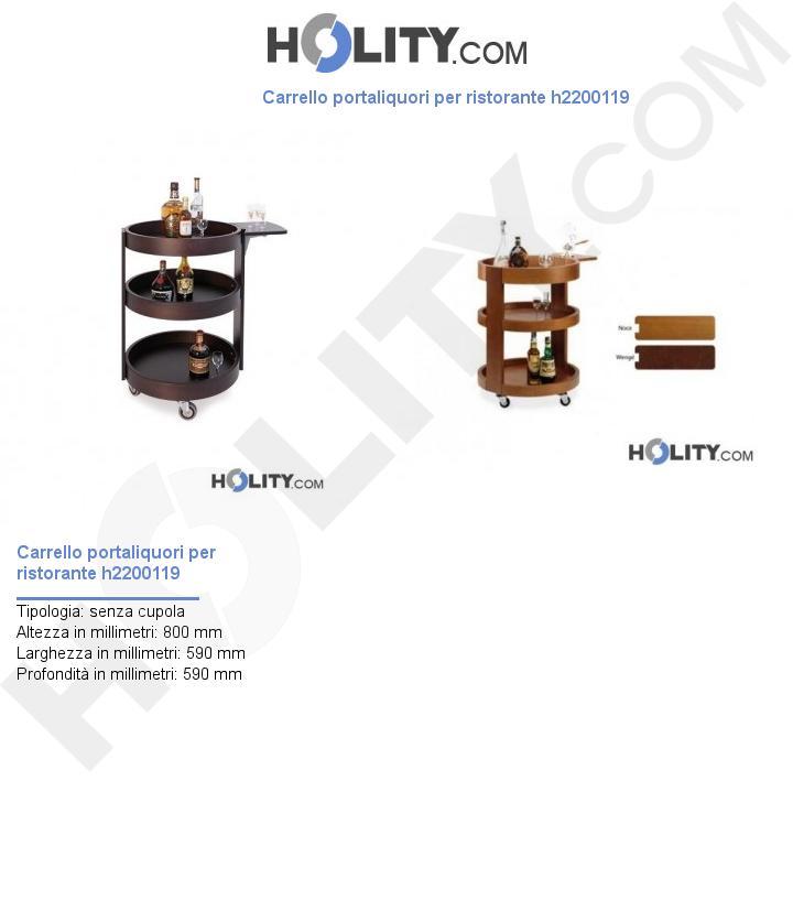Carrello portaliquori per ristorante h2200119