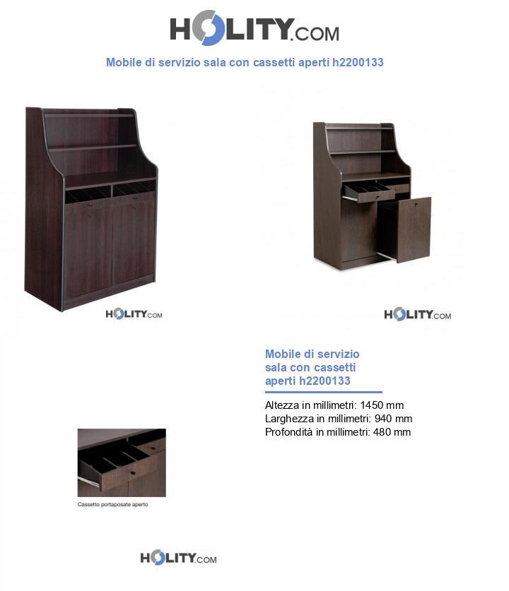 Mobile di servizio sala con cassetti aperti h2200133
