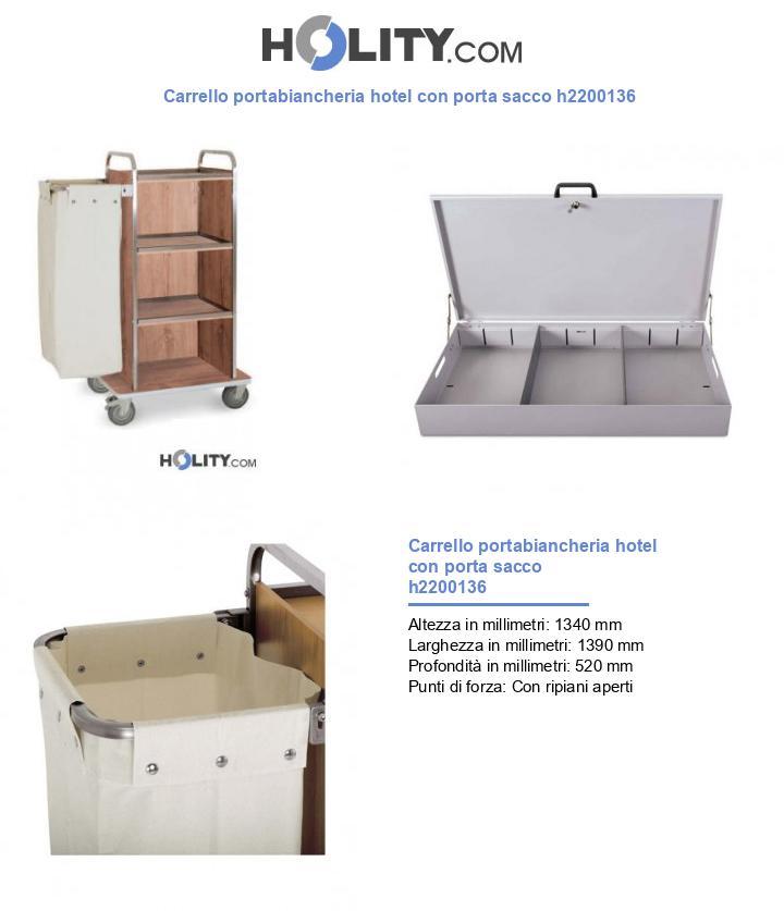 Carrello portabiancheria hotel con porta sacco h2200136