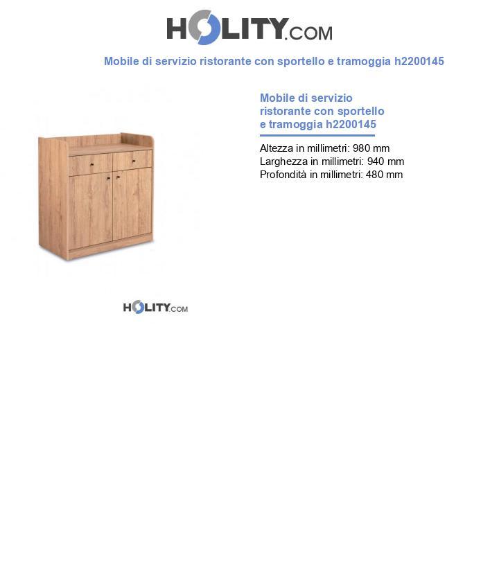 Mobile di servizio ristorante con sportello e tramoggia h2200145