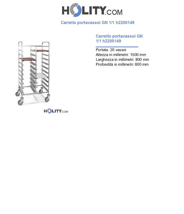 Carrello portavassoi GN 1/1 h2200149
