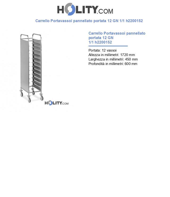 Carrello Portavassoi pannellato portata 12 GN 1/1 h2200152