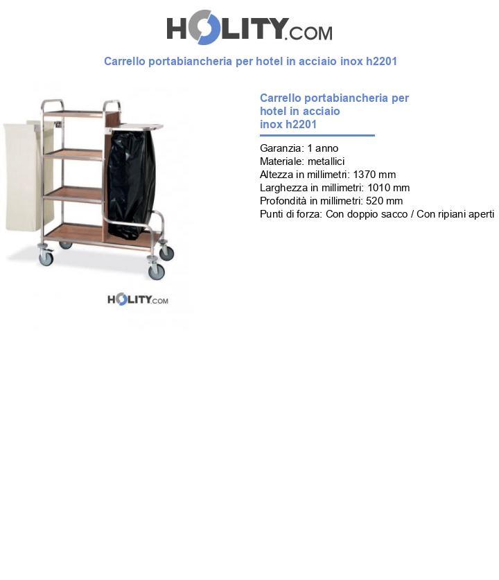 Carrello portabiancheria per hotel in acciaio inox h2201