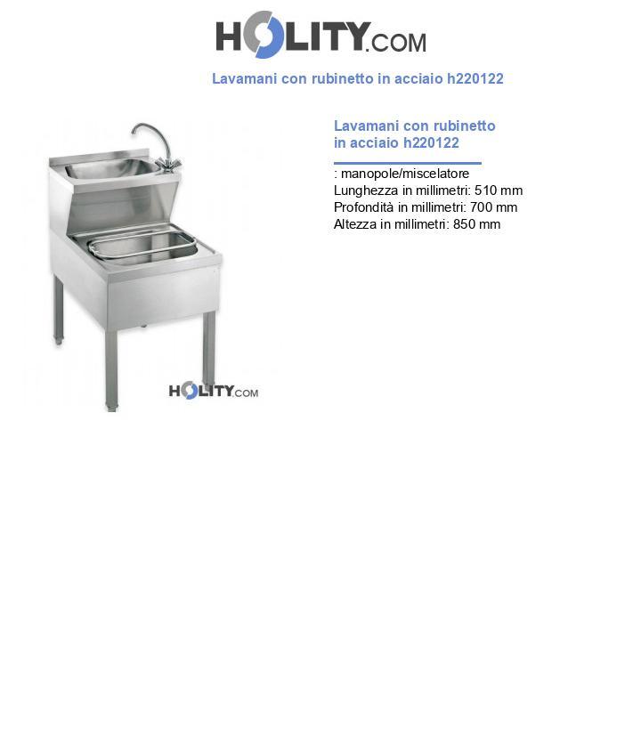 Lavamani con rubinetto in acciaio h220122