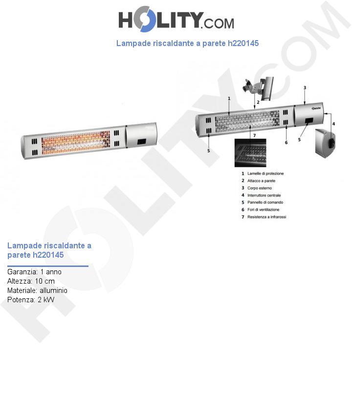 Lampade riscaldante a parete h220145
