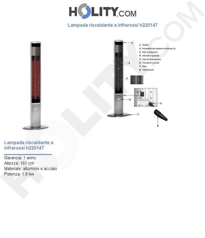 Lampada riscaldante a infrarossi h220147