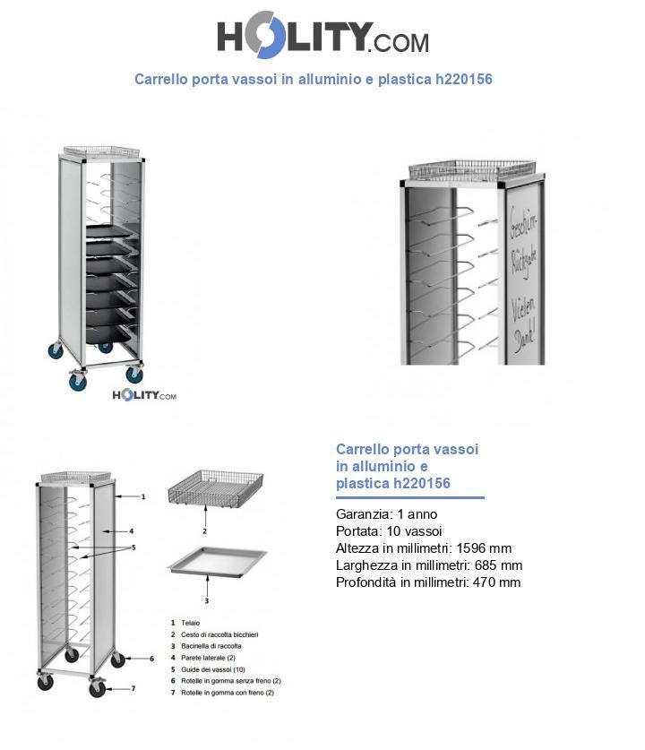 Carrello porta vassoi in alluminio e plastica h220156