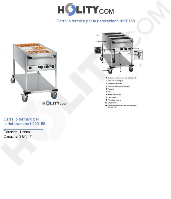 Carrello termico per la ristorazione h220158
