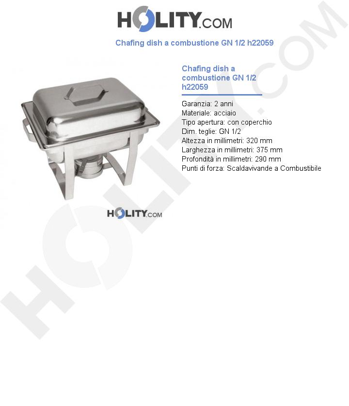 Chafing dish a combustione GN 1/2 h22059