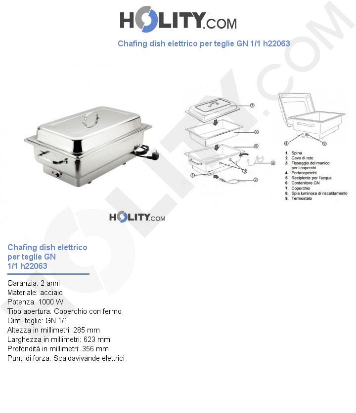 Chafing dish elettrico per teglie GN 1/1 h22063