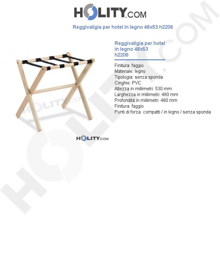 Reggivaligia per hotel in legno 48x53 h2206