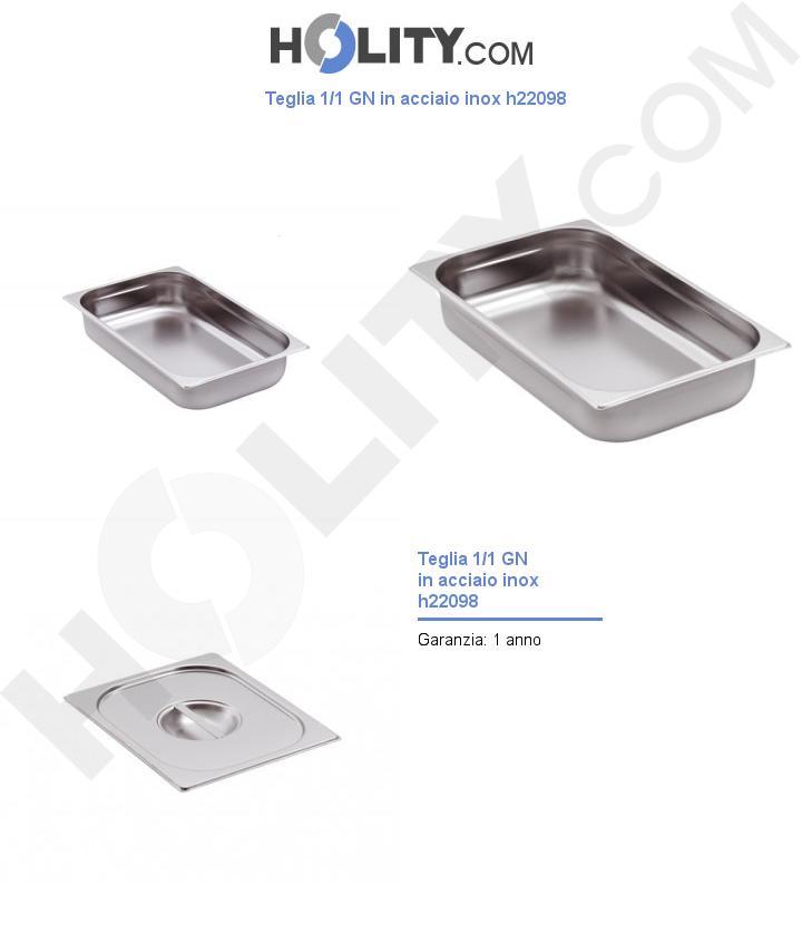 Teglia 1/1 GN in acciaio inox h22098