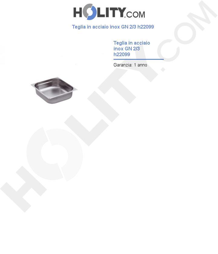 Teglia in acciaio inox GN 2/3 h22099