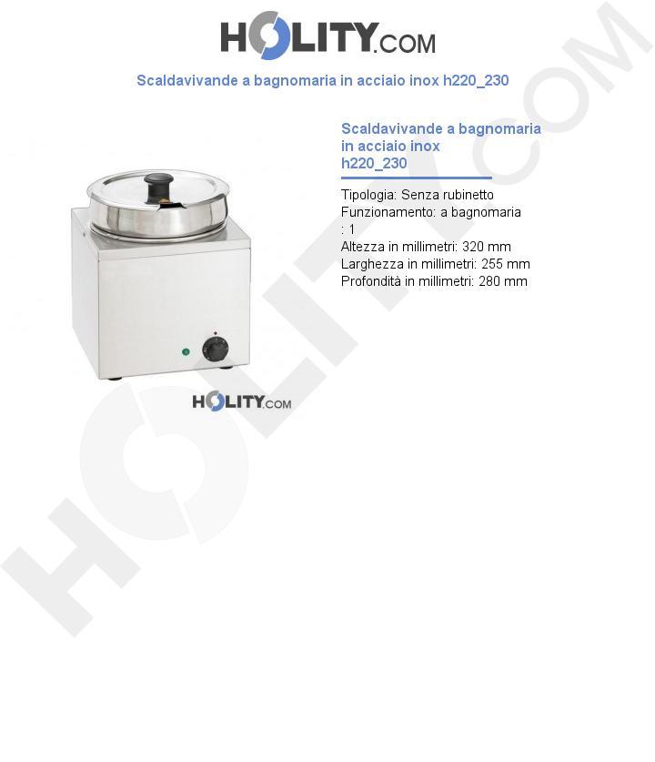 Scaldavivande a bagnomaria in acciaio inox h220_230