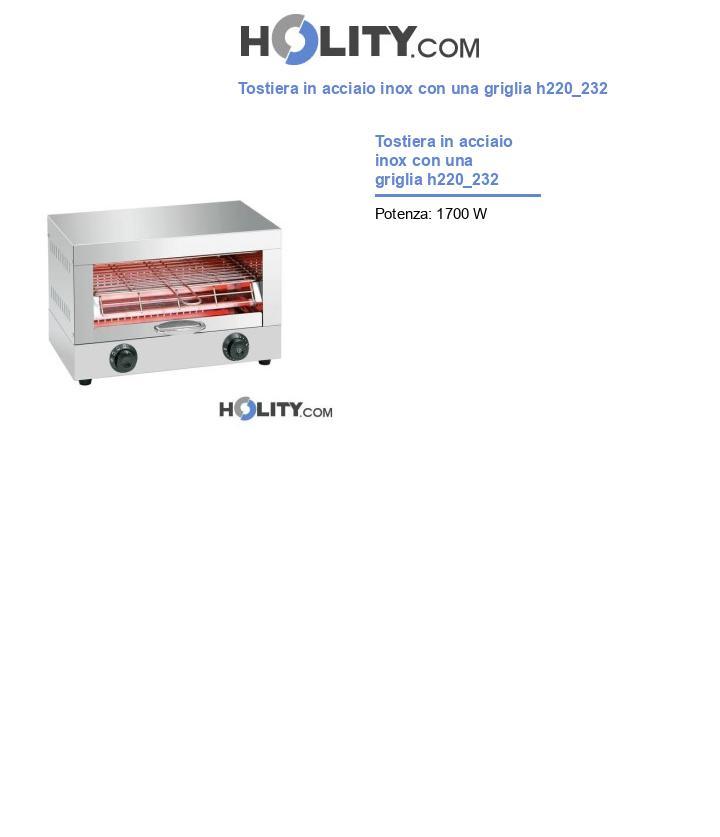 Tostiera in acciaio inox con una griglia h220_232