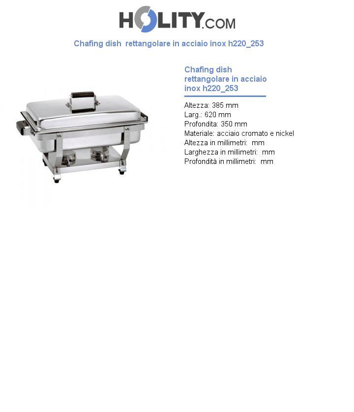 Chafing dish  rettangolare in acciaio inox h220_253
