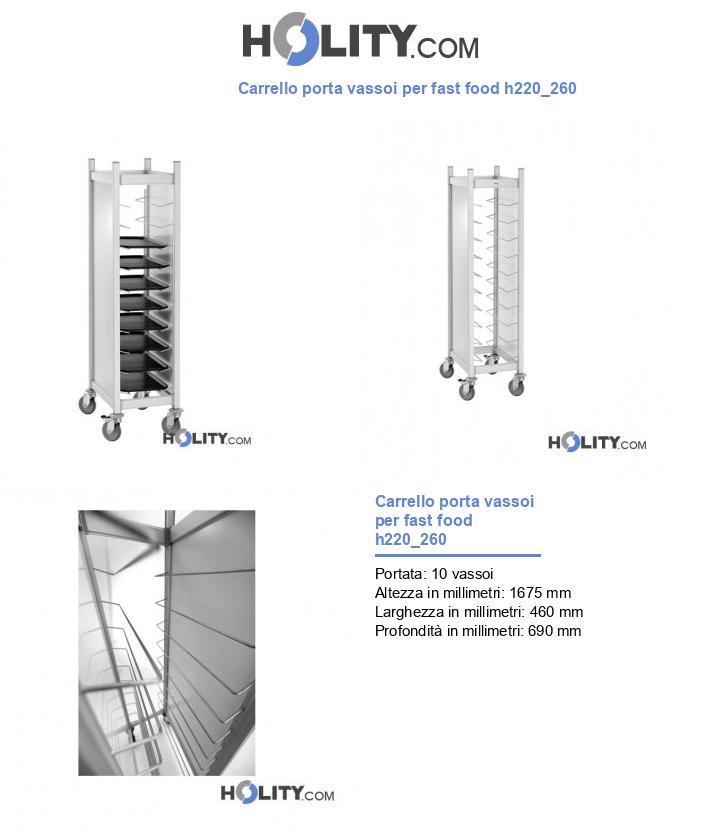 Carrello porta vassoi per fast food h220_260