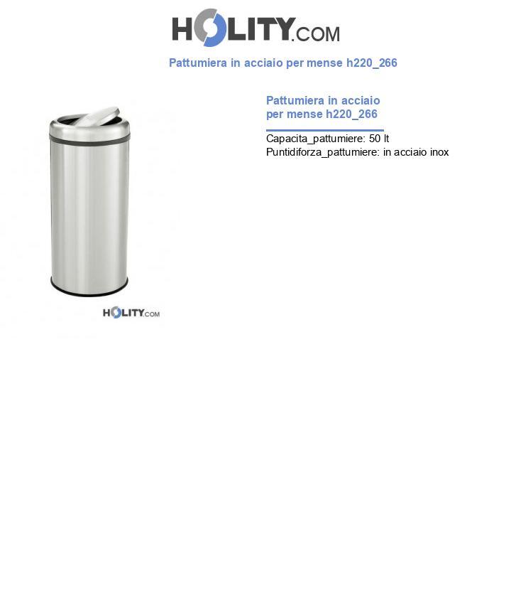 Pattumiera in acciaio per mense h220_266