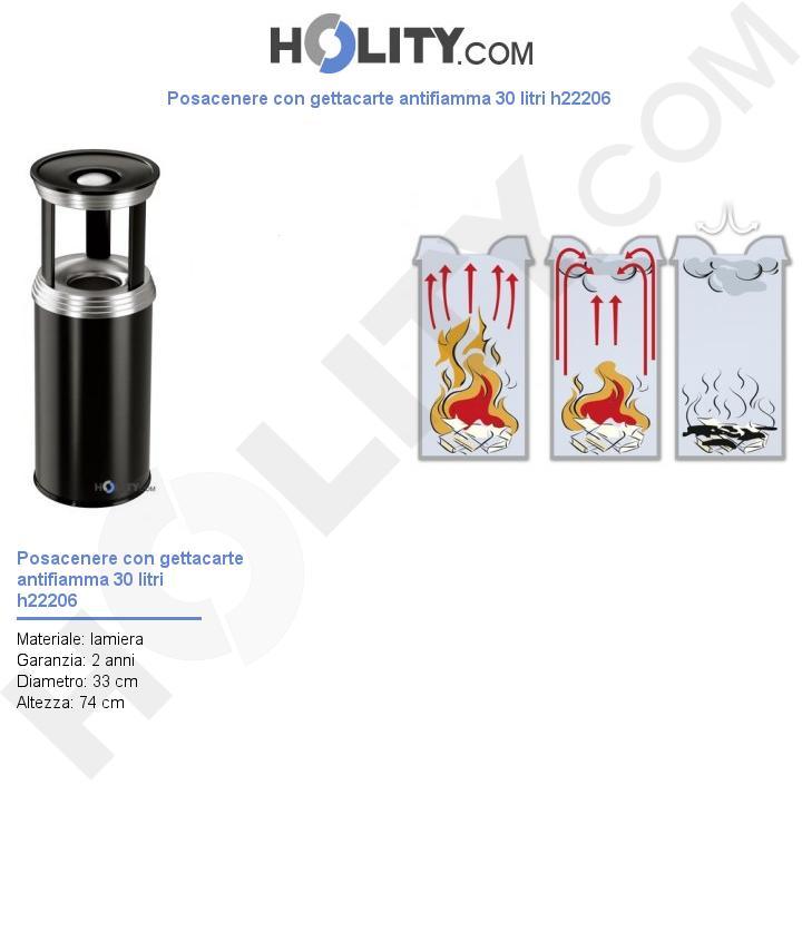 Posacenere con gettacarte antifiamma 30 litri h22206