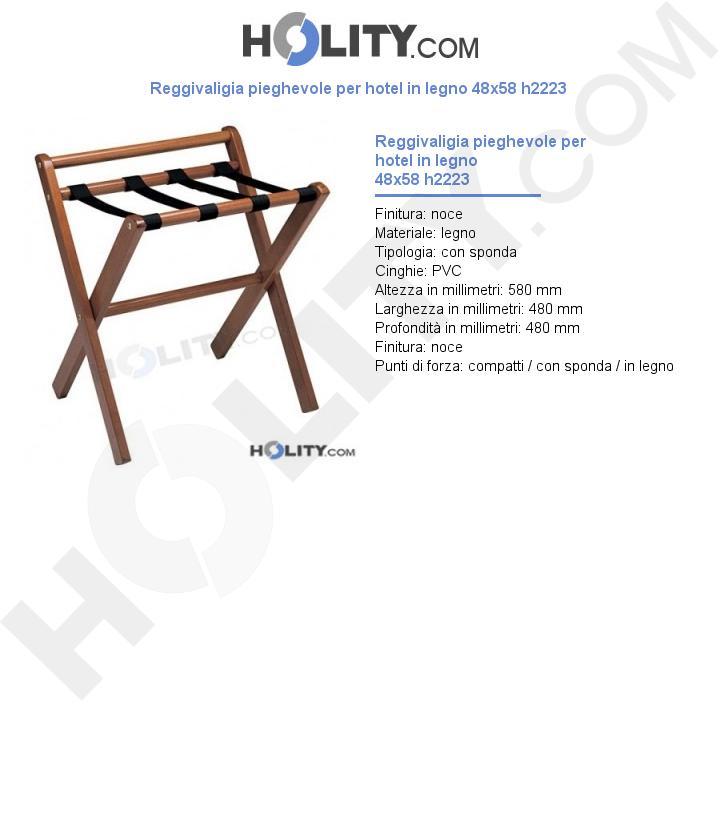 Reggivaligia pieghevole per hotel in legno 48x58 h2223