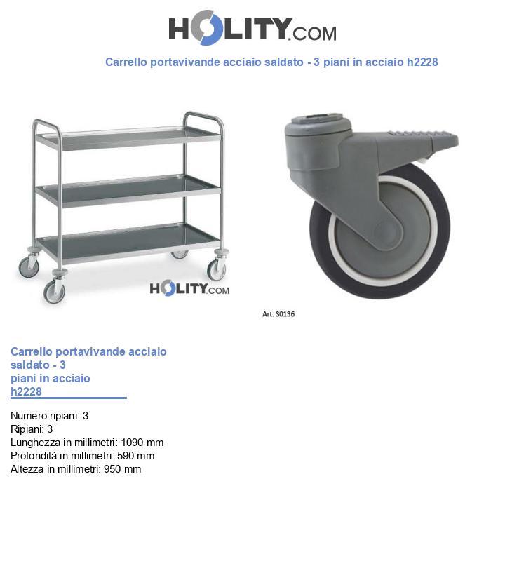 Carrello portavivande acciaio saldato - 3 piani in acciaio h2228
